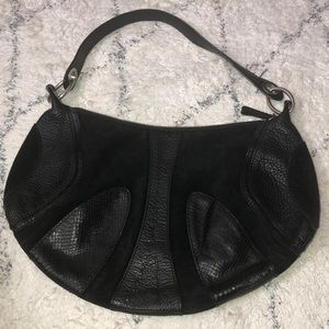 Black Leather and Suede Hobo Bag